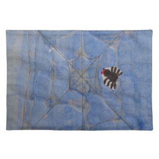 Art by Children, Spider with cobweb, drawing Cloth Placemat