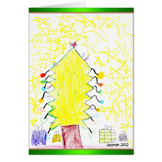 Art by Kids Christmas Tree Note Cards Customizable
