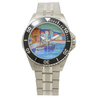 Art By Stamos Chios Harbor Stainless Steel watch