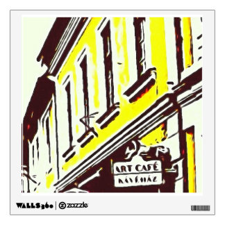 """""""Art Cafe"""" Yellow Building Tops Street Scene Wall Decal"""
