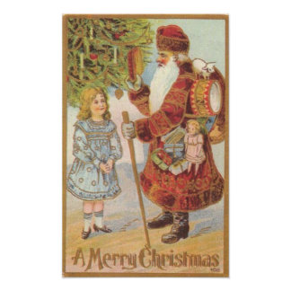 ART CANVAS AUTHENTIC 1800s CHRISTMAS ART REPRO Posters
