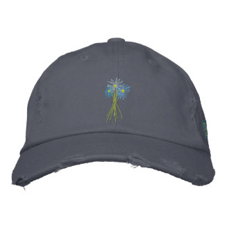 Art Cap: Flower Bunch. Cornish Blue Moon Daisies Embroidered Baseball Hat