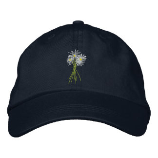 Art Cap: Flower Bunch. Cornish White Moon Daisies Embroidered Hats