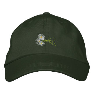 Art Cap: Flower Bunch. White Daisies Embroidered Baseball Hat