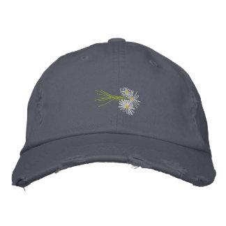 Art Cap: Flower Bunch. White Daisies Scruffy Blue Embroidered Baseball Cap