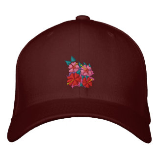 Art Cap: Hibiscus Flowers. Embroidered Baseball Hat