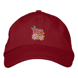 Art Cap: Hibiscus Flowers. Pink desig Embroidered Baseball Hat