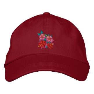 Art Cap: Hibiscus Flowers. Red. Embroidered Baseball Hat