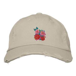 Art Cap: Scruffy Cap. Hibiscus Flowers Embroidered Baseball Hat
