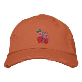 Art Cap: Scruffy Hibiscus Flowers. Orange. Embroidered Baseball Hat