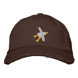 Art Cap: Scruffy Seagull Design. Chocolate Embroidered Baseball Hat