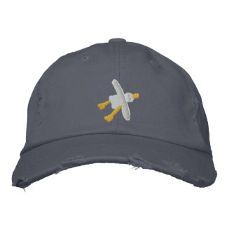 Art Cap: Scruffy Seagull Design Embroidered Baseball Cap