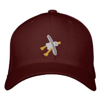 Art Cap: Smart Seagull Design. Maroon Embroidered Baseball Cap
