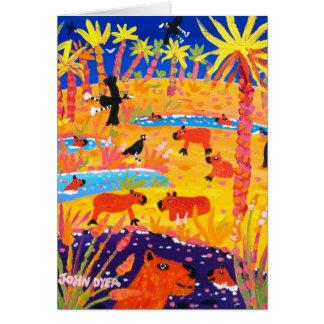 Art Card Brazilian Capybara Pantanal Brazil