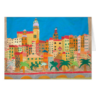 Art Card: Menton. Collage and paint. Card