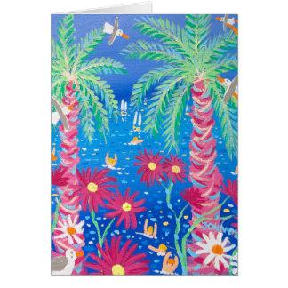 Art Card:Tropical Blue Sea and Pink Palms, Tresco Card