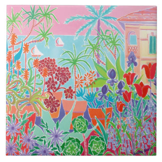 Art Ceramic Tile: Joanne Short, Côte d'Azur Menton Large Square Tile