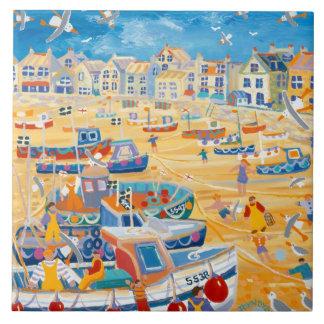 Art Ceramic Tile: John Dyer Boats & Ropes, St Ives Large Square Tile