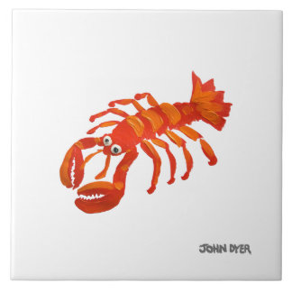 Art Ceramic Tile: John Dyer Cornish Lobster Large Square Tile
