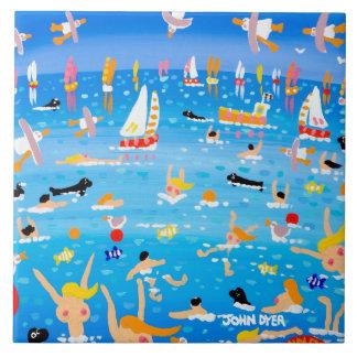 Art Ceramic Tile: John Dyer Swimmers Seals & Sails Large Square Tile