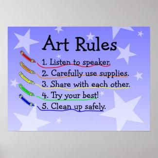 Art Class Rules Poster print