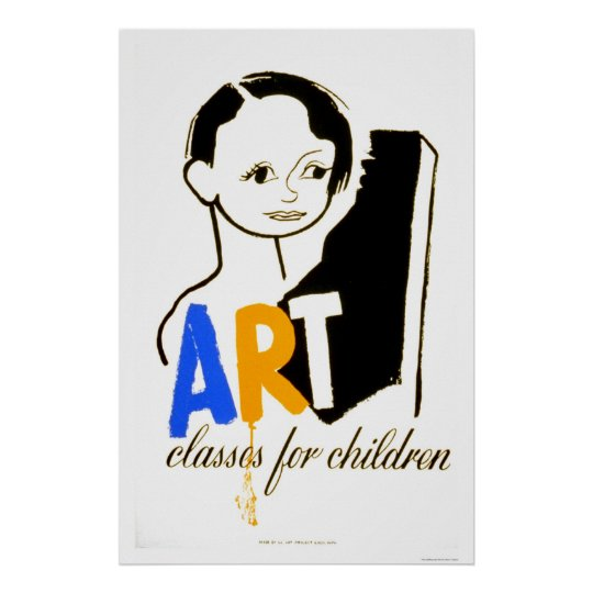 Art Classes Children 1940 WPA Poster