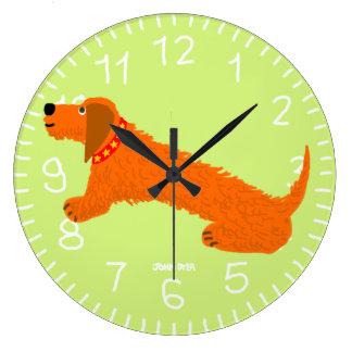 Art Clock: John Dyer Sausage Dog Lime Large Clock