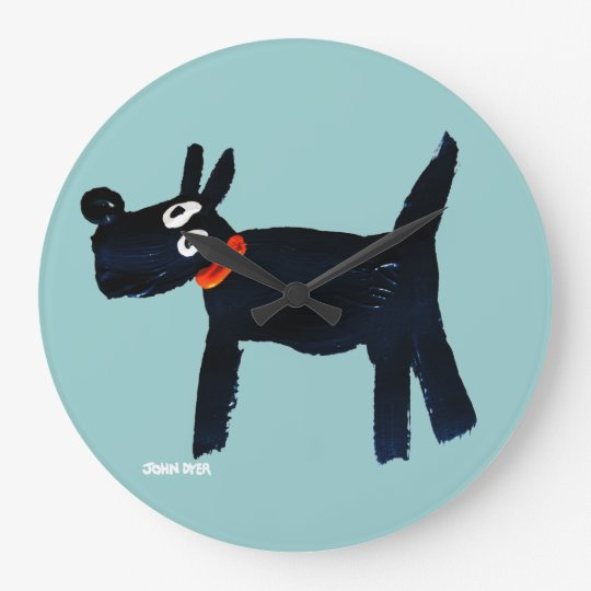 Art Clock: John Dyer Scotty Dog Large Clock