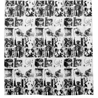 ART COLLAGE black & white + your ideas Shower Curtain