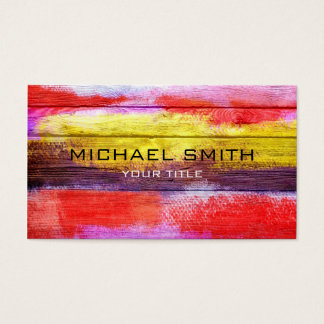 Art Color Acrylic Painting on Wood #2 Business Card