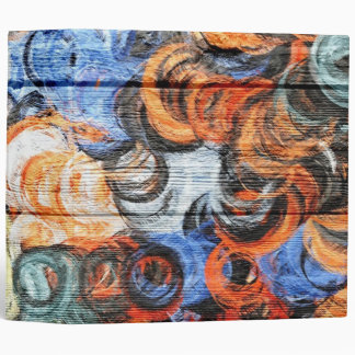 Art Color Acrylic Painting on Wood 3 Ring Binder