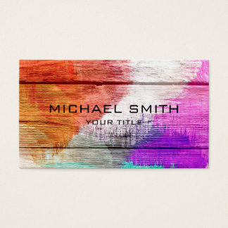 Art Color Acrylic Painting on Wood Business Card