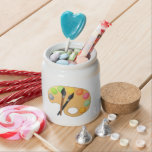 Art Color Palette with Two Brushes Candy Jars