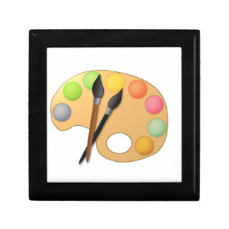 Art Color Palette with Two Brushes Jewelry Boxes