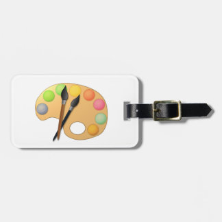 Art Color Palette with Two Brushes Tag For Bags