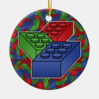 Art - Construction Blocks for Kids Double-Sided Ceramic Round Christmas Ornament