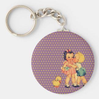 art cute retro children vintage school kids key chain