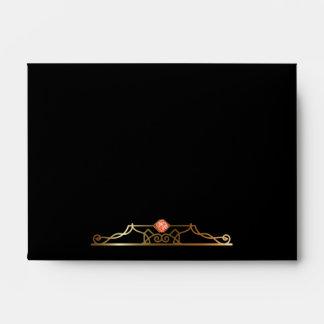 Art Deco 1920's Black & Tangerine Envelope