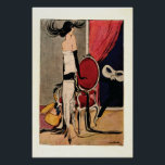 """Art Deco 1920s Flapper Girl Poster<br><div class=""""desc"""">Taken from Jugend Magazine, c1924 - artist H.O.Binder. Vintage retro art deco scene from the 1920s Roaring Twenties Jazz Age. A startled flapper girl fashionably dressed, standing by red drapes and chair, spins her head in the direction of a masked figure, as her box of masks cascades to the floor!...</div>"""
