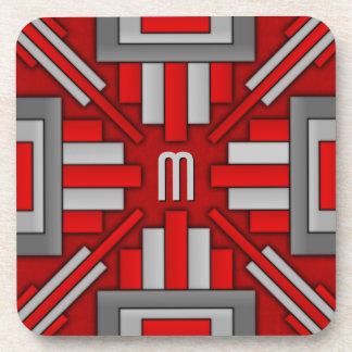 Art Deco 1920's Geometric Red-Gray Drink Coaster