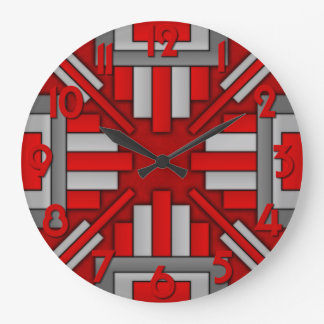 Art Deco 1920's Geometric Red-Gray Large Clock