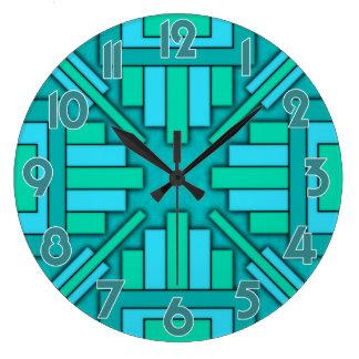 Art Deco 1920s Geometric Teal Green Blue Pattern Large Clock