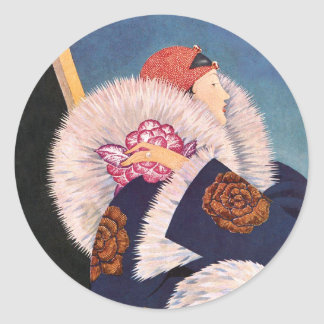 Art Deco 1920s Paris Fashion Classic Round Sticker