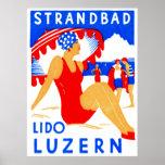 Art déco 1929 Strandbad Lido Lucerna Impresiones