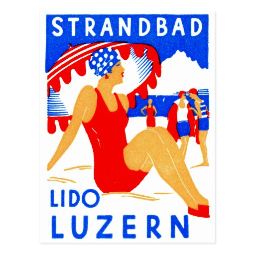 Art déco 1929 Strandbad Lido Lucerna Postal