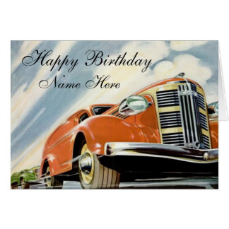 Art Deco 1930's Red Motor Birthday Card Template