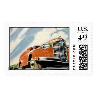 Art Deco 1930's Red Motor Postage Stamp