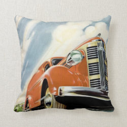 Art Deco 1930's Red Motor Throw Pillow