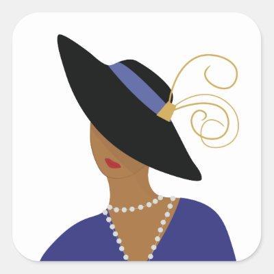 Art Deco 1930s Woman in Broad Black Hat Square Sticker