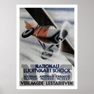 Art déco 1937 del poster de la aviación del vintag